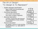the art of design to design is to represent