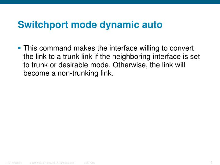 Switchport mode dynamic auto