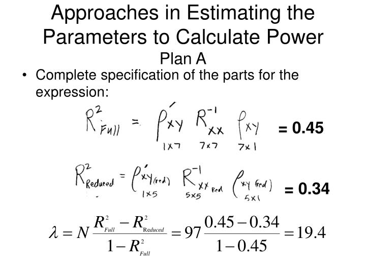 Approaches in Estimating the Parameters to Calculate Power