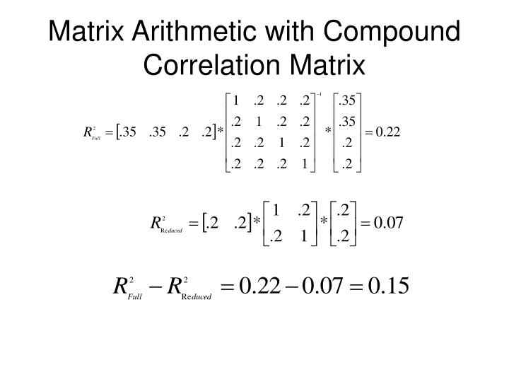 Matrix Arithmetic with Compound Correlation Matrix