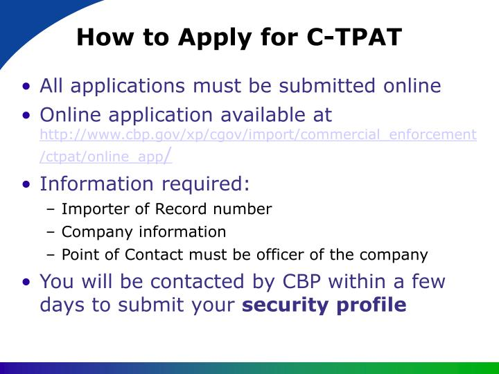 How to Apply for C-TPAT