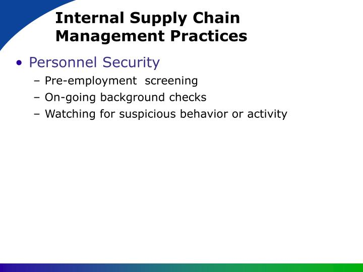 Internal Supply Chain Management Practices