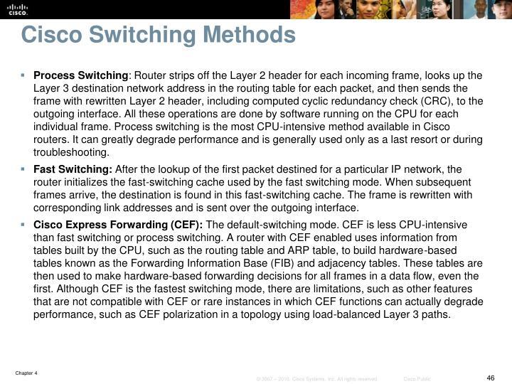 Cisco Switching Methods