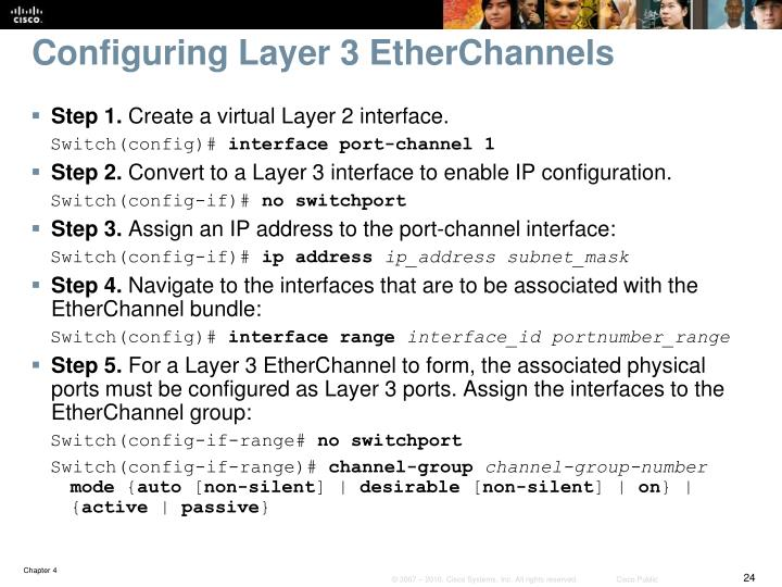 Configuring Layer 3 EtherChannels