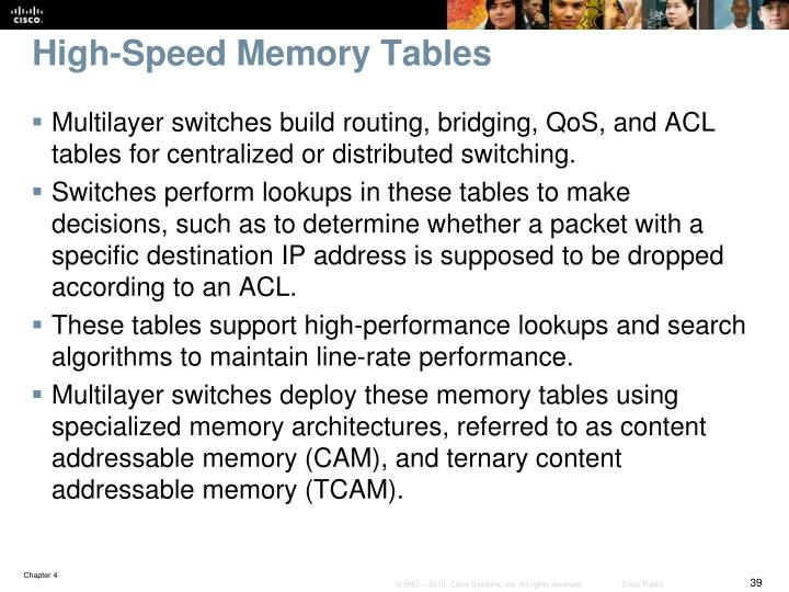 High-Speed Memory Tables