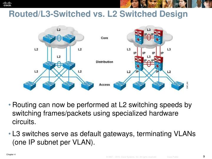 Routed/L3-Switched vs. L2 Switched Design