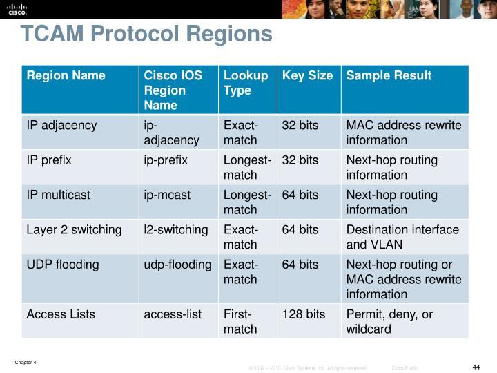 TCAM Protocol Regions