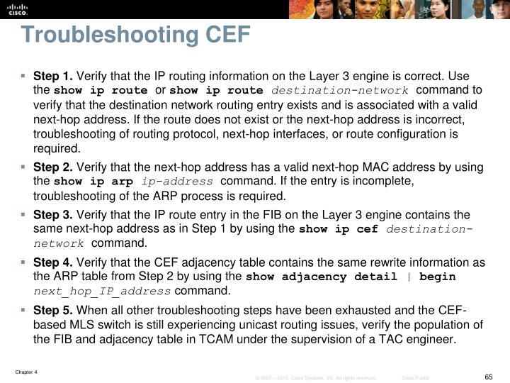 Troubleshooting CEF
