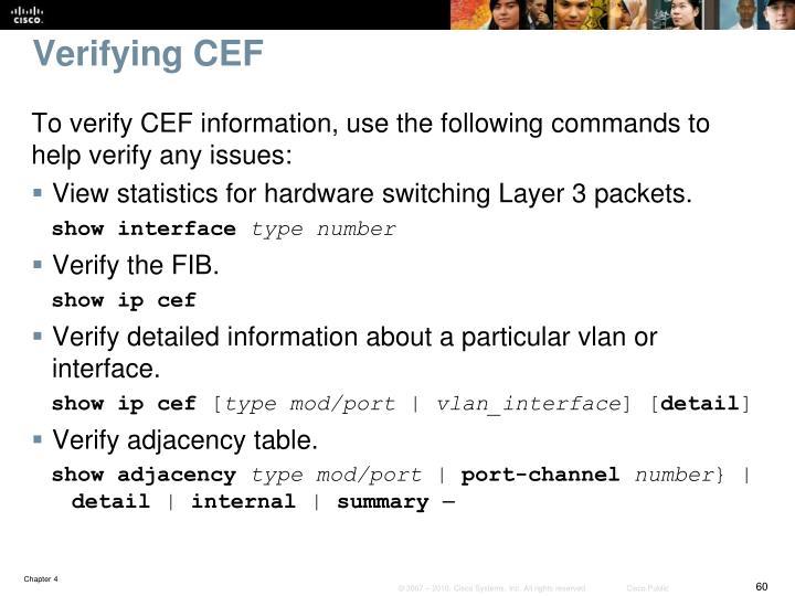 Verifying CEF