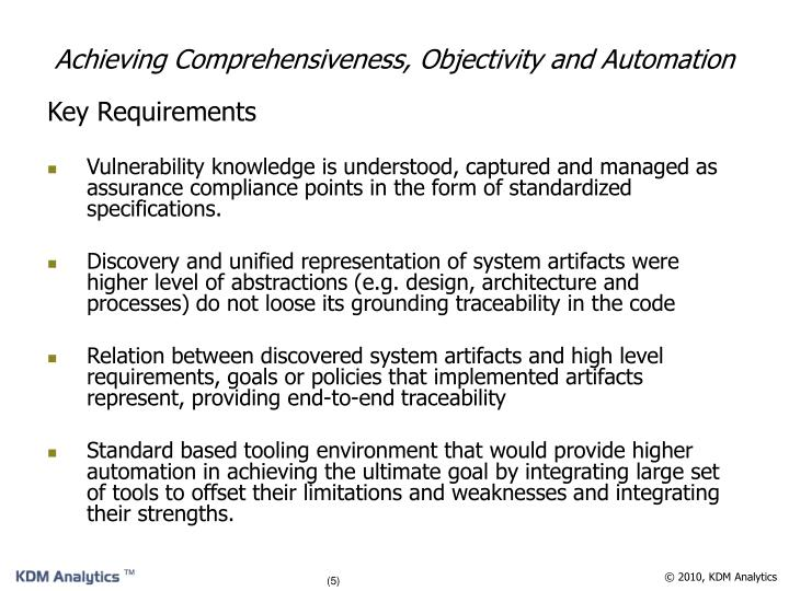 Achieving Comprehensiveness, Objectivity and Automation