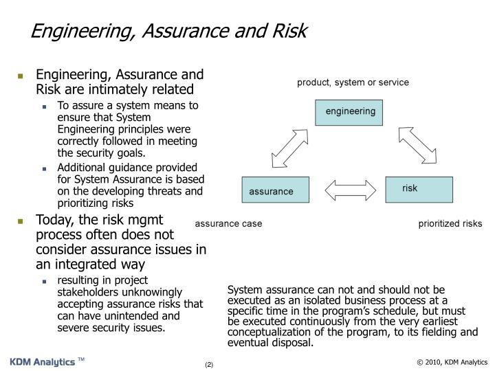 Engineering, Assurance and Risk