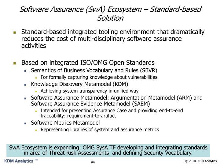 Software Assurance (SwA) Ecosystem – Standard-based Solution