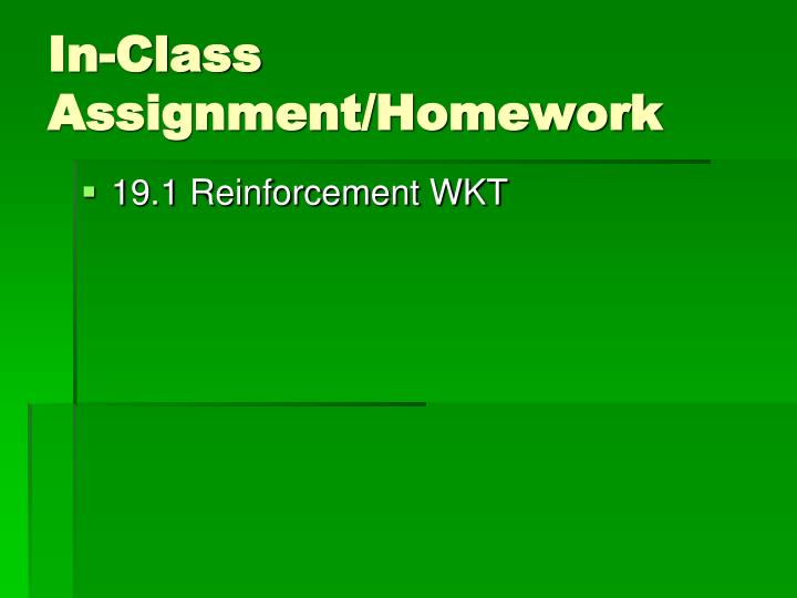 In-Class Assignment/Homework