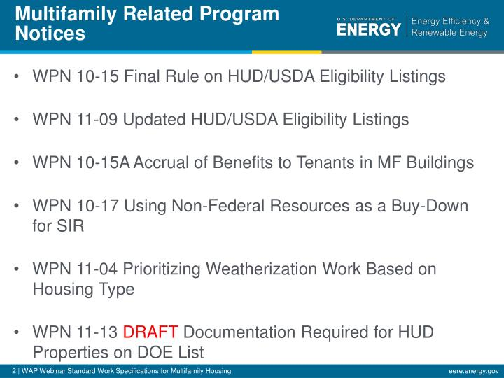 Multifamily related program notices
