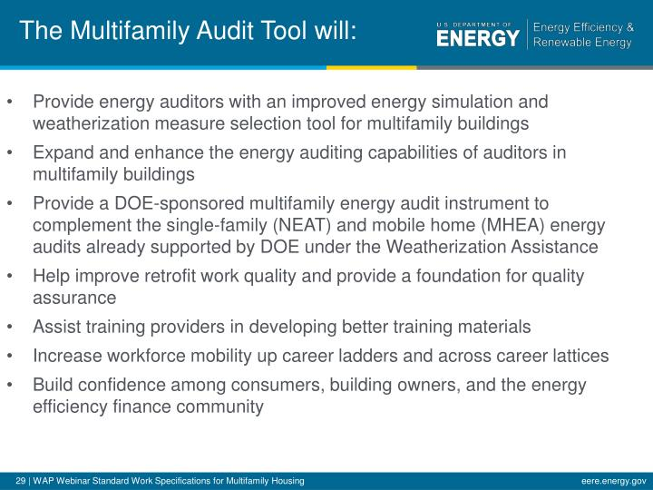 The Multifamily Audit Tool will:
