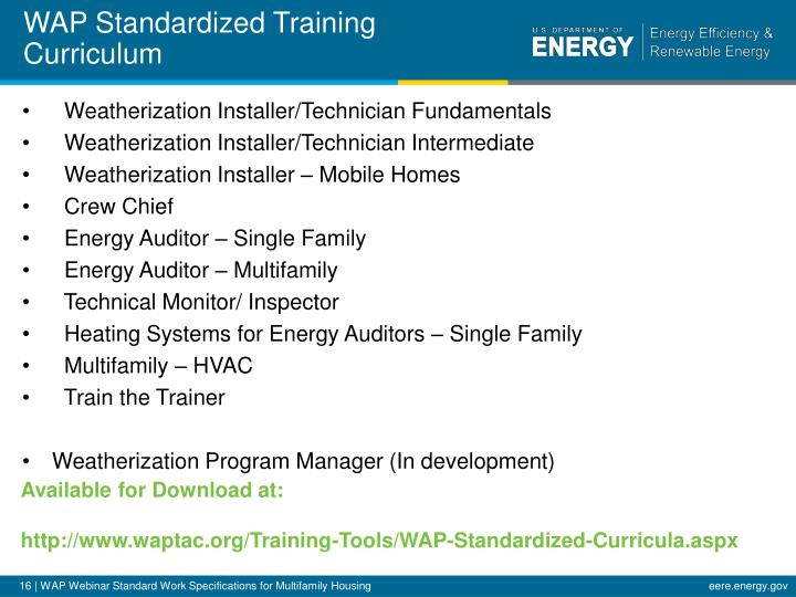 WAP Standardized Training Curriculum