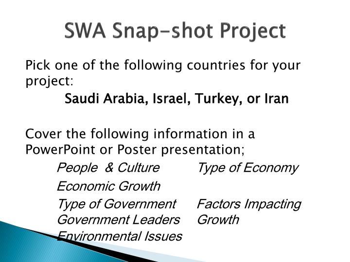 SWA Snap-shot Project