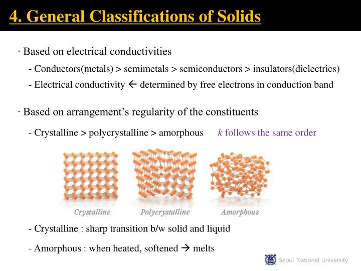 4. General Classifications