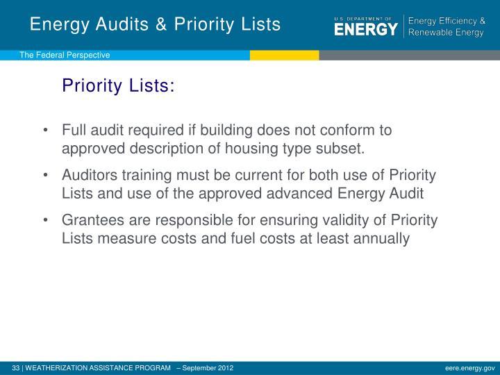 Energy Audits & Priority Lists