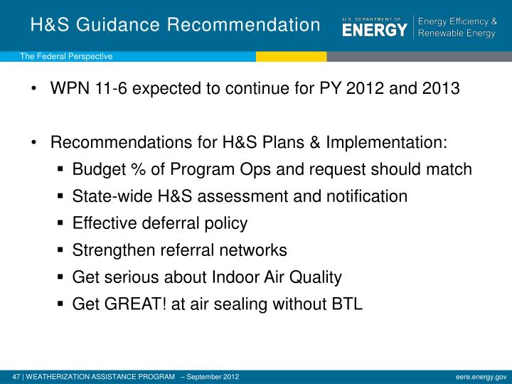 H&S Guidance Recommendation