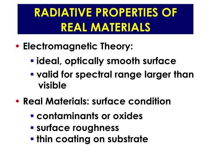 RADIATIVE PROPERTIES OF