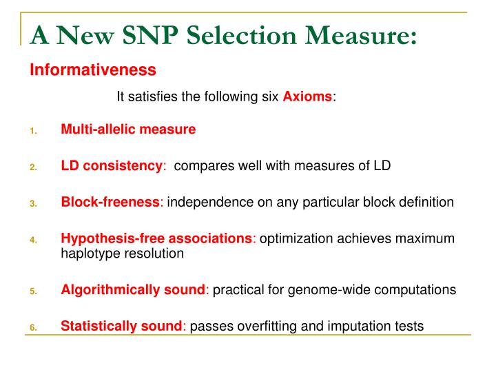 A New SNP Selection Measure: