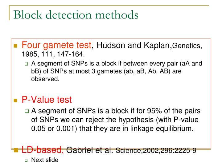 Block detection methods