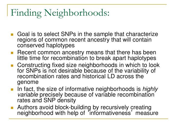Finding Neighborhoods: