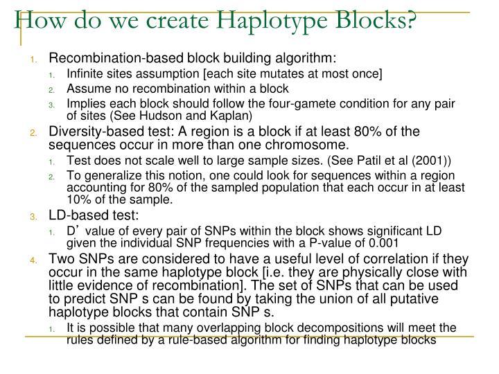 How do we create Haplotype Blocks?