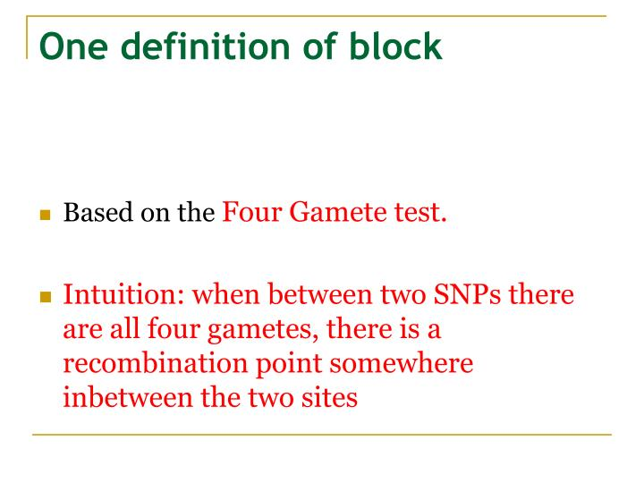 One definition of block