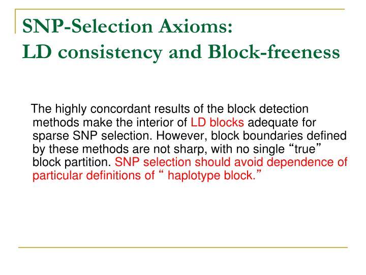SNP-Selection Axioms: