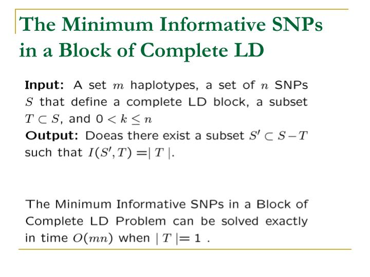 The Minimum Informative SNPs in a Block of Complete LD