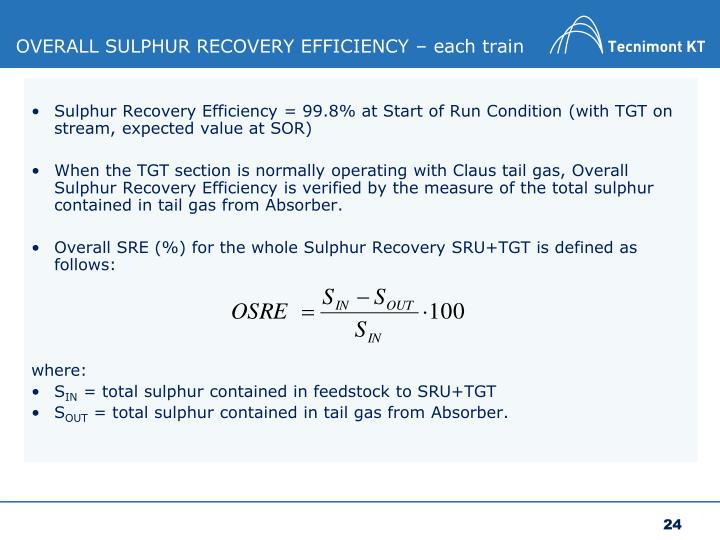 OVERALL SULPHUR RECOVERY EFFICIENCY – each train