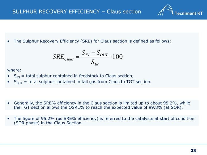 The Sulphur Recovery Efficiency (SRE) for Claus section