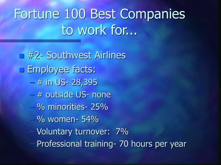 Fortune 100 Best Companies to work for...