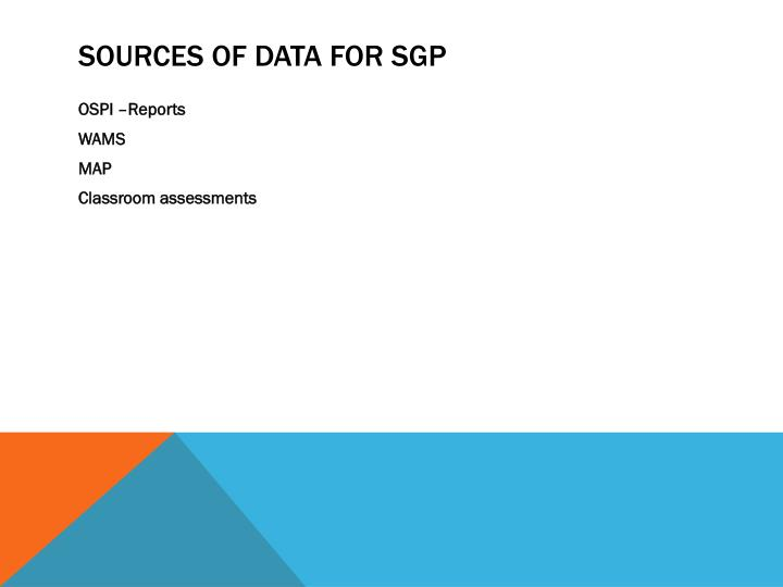 Sources of data for SGP