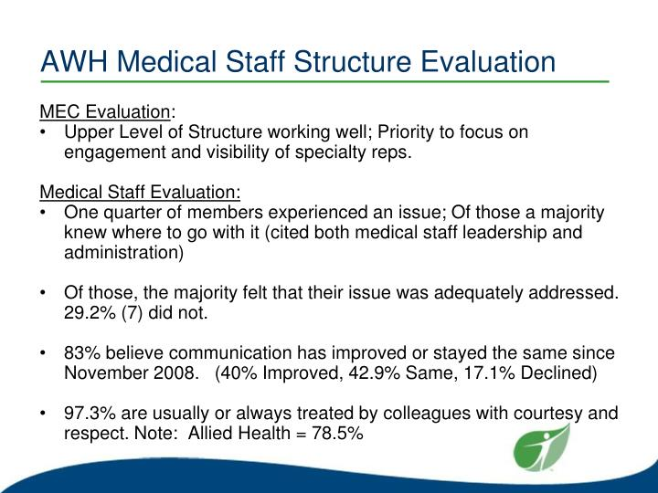 AWH Medical Staff Structure Evaluation