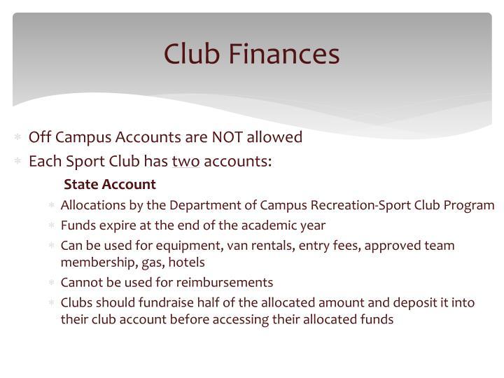 Club Finances