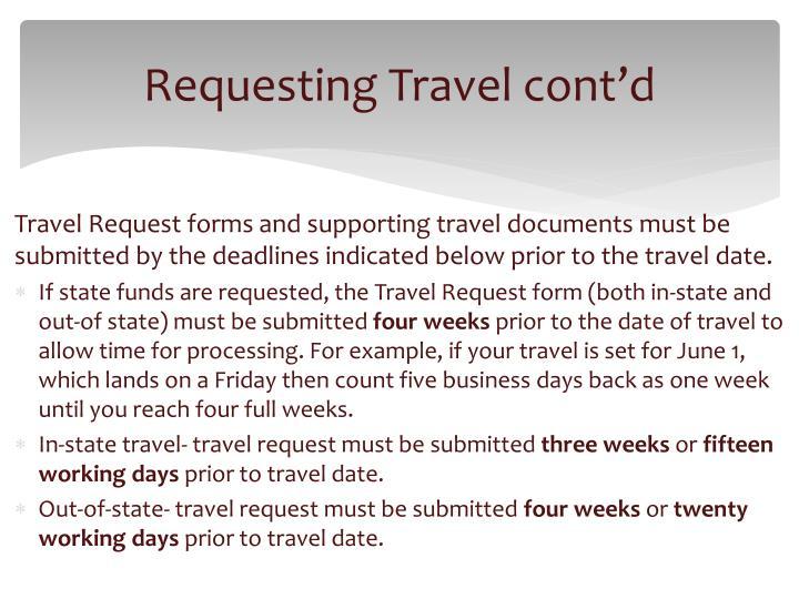 Requesting Travel cont'd