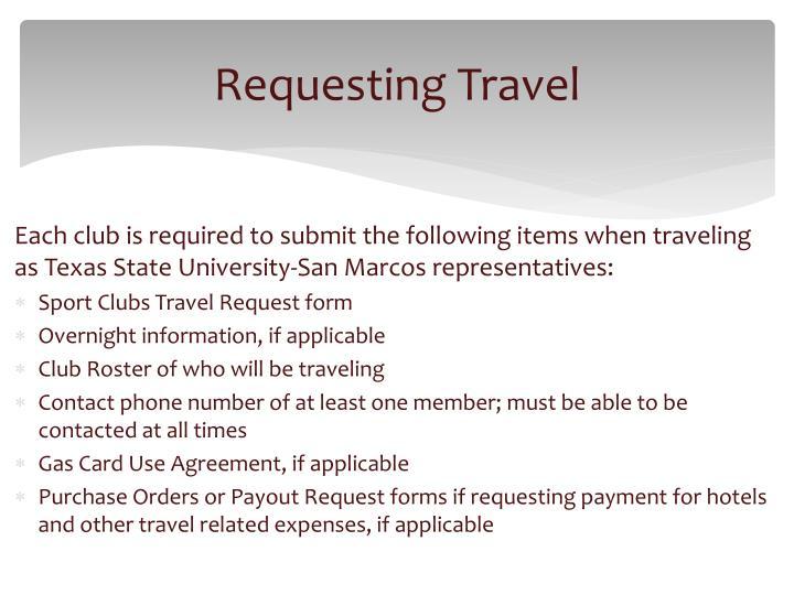 Requesting Travel