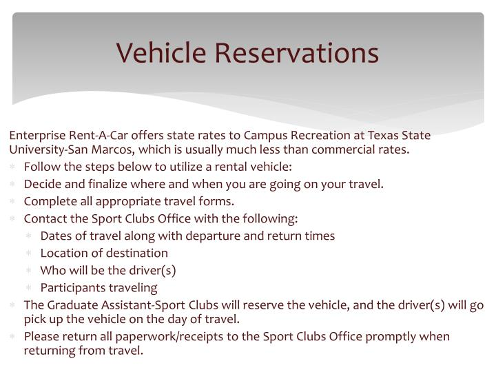 Vehicle Reservations