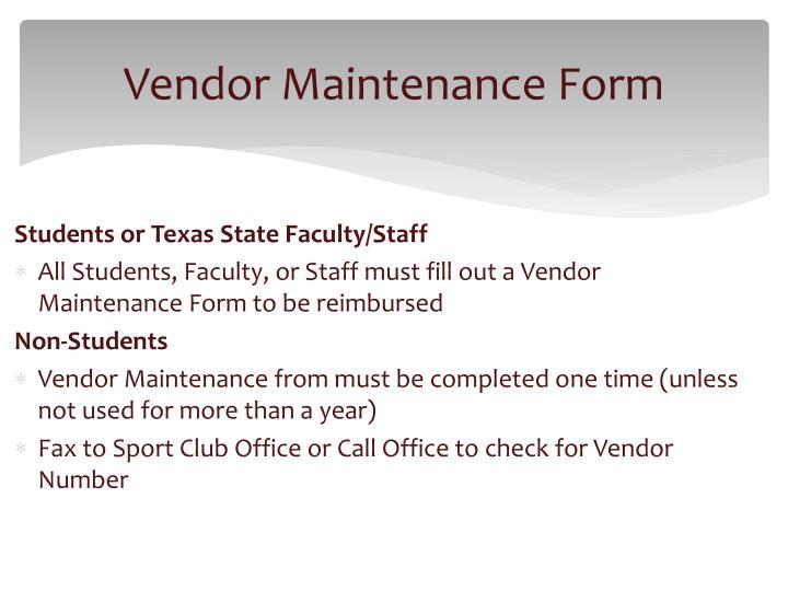 Vendor Maintenance Form