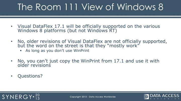The Room 111 View of Windows 8