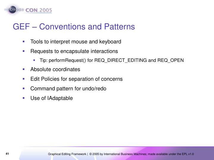 GEF – Conventions and Patterns