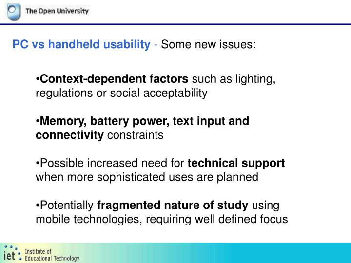 PC vs handheld usability