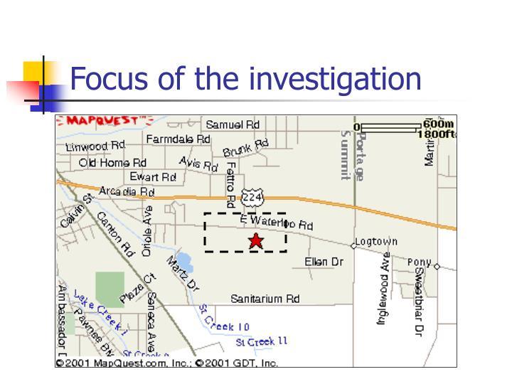 Focus of the investigation