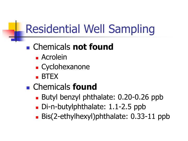 Residential Well Sampling