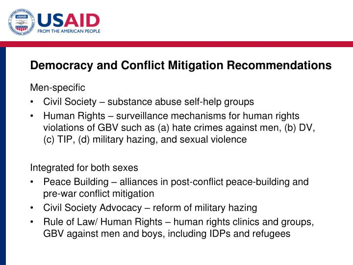 Democracy and Conflict Mitigation Recommendations