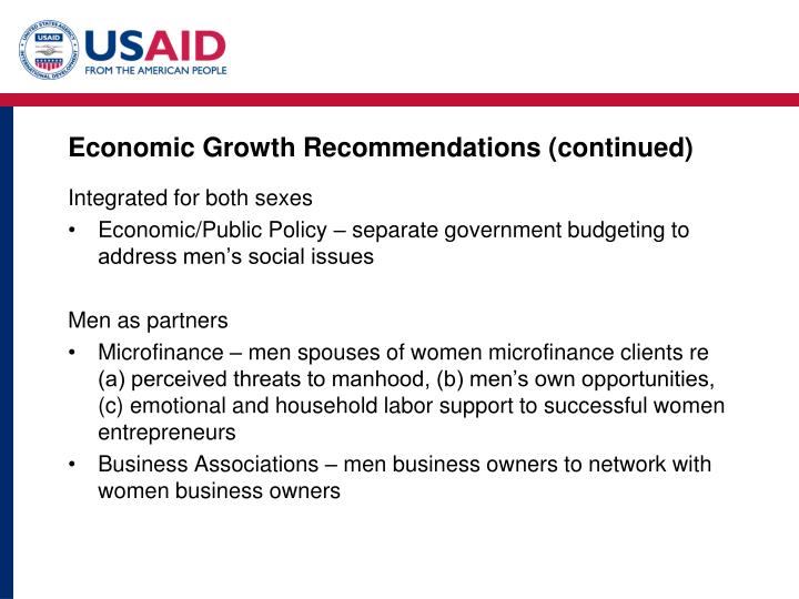 Economic Growth Recommendations (continued)