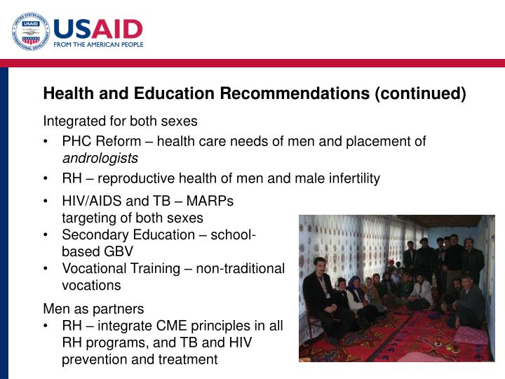 Health and Education Recommendations (continued)